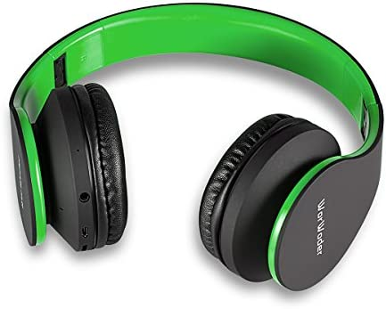 Bluetooth Headphones Over Ear, Wireless Headset Hi-Fi Stereo, Foldable, Soft Memory-Protein Earmuffs, Built-in Mic and Wired Mode for PC Cell Phones TV and Travelling Black-Green by WorWoder