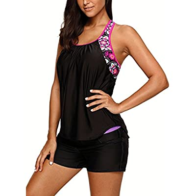 Dearlove Women's Blouson Floral T-Back Push Up Tankini Top S-XXXL: Clothing
