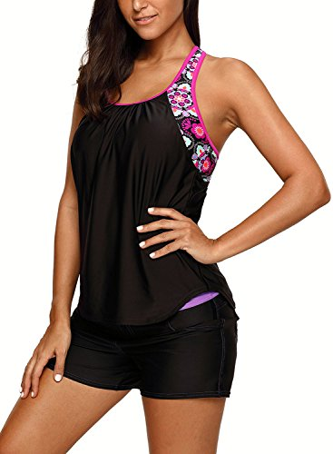 Women's Blouson Floral T-Back Push up Tankini Top Halter Padded Slimming Swimsuit Sporty Swimwear Black L 12 14 by Dearlove (Image #3)