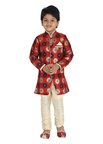 KLAUD ZEE Kids Ethnic Indo-Western Cotton Festive and Party Wear Sherwani and Breeches Set for Boys (12-24 Months, Maroon)