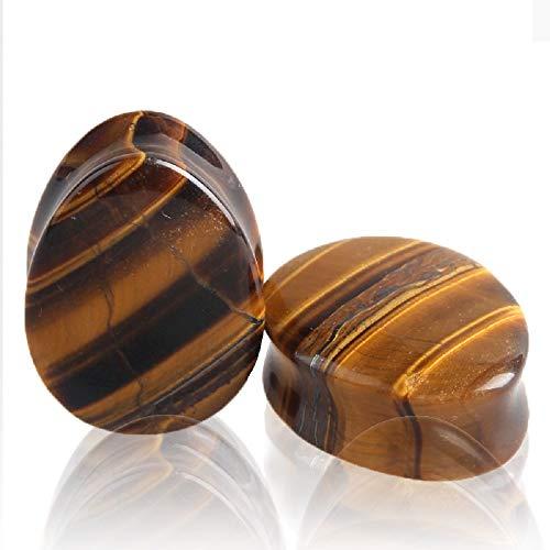 Agate Stone Earrings (Teardrop Tiger Eye Ear Gauges Plugs Tunnels Expanders Natural Stone Double Flared Earrings Piercing Jewelry (1