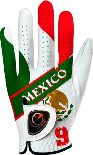 Custom Golf Gloves - easyglove Flag_Mexico Men's Golf Glove (White), Medium, Worn on Left Hand