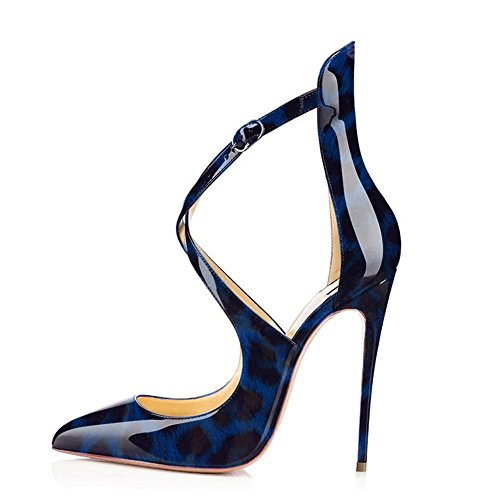 Cross Court Leopard Stiletto On Ubeauty Strap Womens Pointed Pumps High Toe A Classic Slip Shoes blue Heels 1gx775pw