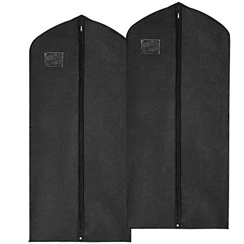Plastic Holder Label Cover Clear (MaidMAX Garment Bags, Set of 2 Breathable Suits Dresses Covers with Clear Plastic Label Holders & Long Zipper for Coats Closet Storage Travel, Black, 54 Inches)