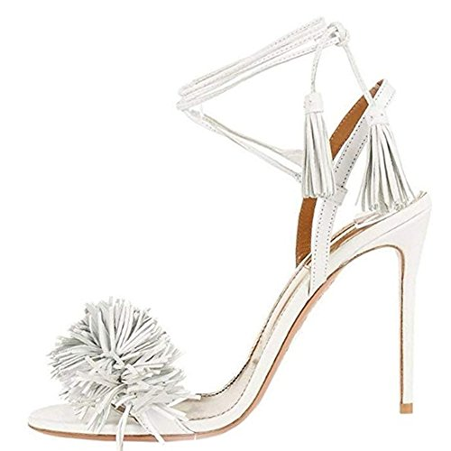 Comfity Heeled Sandals for Women Women's Tassels Sandals Lace Up Slingback Shoes High Heel Dress Sandals 10 M US White