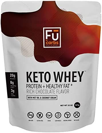 F Carbs Boosted Whey Protein Isolate Powder w Organic Coconut Cream MCT Oil Powder, All Natural, No Fillers, for Ketogenic Diet, Body Building, Fitness, Energy, Carb Free Health. 32oz Chocolate