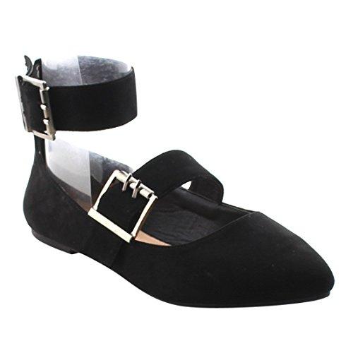 Betani Fj03 Dames Comfort Enkelbandje Amandel Teen Ballet Flats Zwart Suède