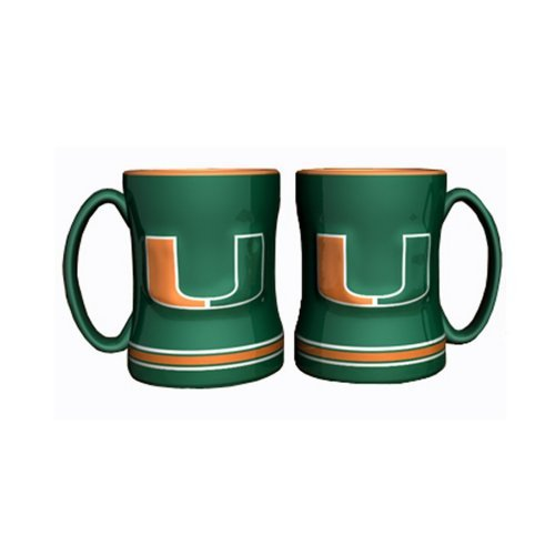 NCAA Miami - Relief Coffee Mug (2) | Miami Hurricanes 14 oz. Ceramic Coffee Cup - Set of 2 ()