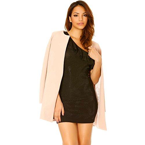 Miss Wear Line - Robe noire avec épaule dénudée et strass sur le devant