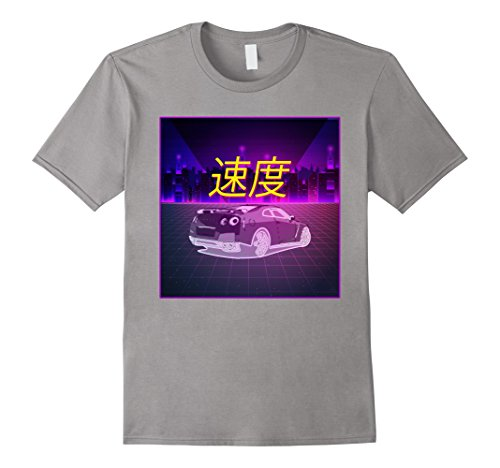 Mens JDM Outrun Style Japanese Synthwave Aesthetic T-Shirt Medium Slate