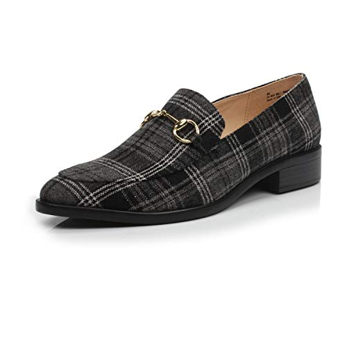 DUNION Women's BRINE Comfortable Slip on Chain Decorated Penny Loafers Low Heels Almond Toe Casual Daily Shoe, Black Plaid,6 B(M) US