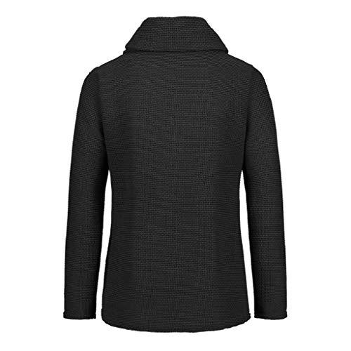 Suéter Botón Manga Abrigo Primavera Tallas Larga Camisa Punto Camisetas Largas Sobredimensionado Moda Mujer De Negro Shobdw Chaquetas Sudadera Blusas Sólido Suelto Otoño Tops Casual UqIOPPF