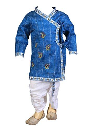 Dhoti Kurta (FOCIL Blue Peacock Feather Embroidered Dhoti & Kurta Pant Set Kids)