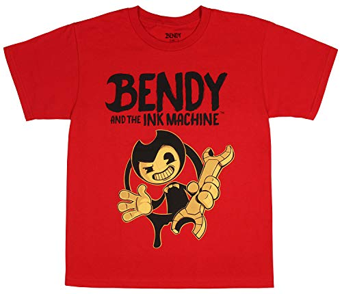 Boys Ink - Bendy and the Ink Machine Shirt Boys' Officially Licensed Character Youth T-Shirt (Medium) Red