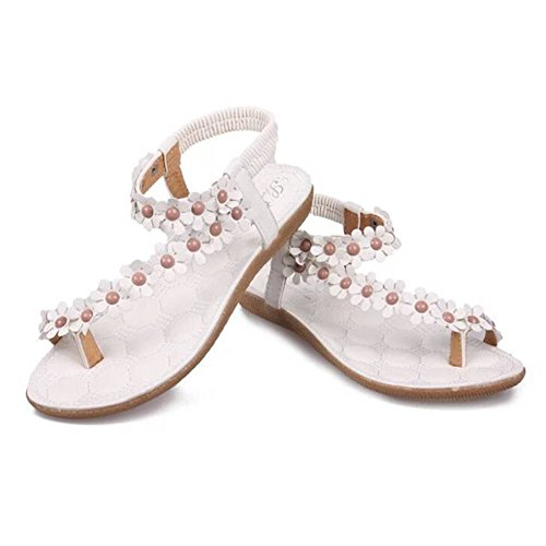 BUYEONLINE Women Bohemia Flower Beads Flip-Flop Shoes Flat Sandals Shoes Us Size M 7,white