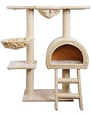 Cat Scratching Tree Post Gym House Furniture Scratcher Sisal Pole Beige 100cm