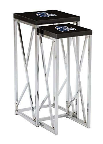 - The Furniture Cove Black Laminate Formica and Chrome Finish Nesting Table with Your Choice of a Football Team Logo Decal (Broncos Helmet) FREE set of coasters with each purchase!