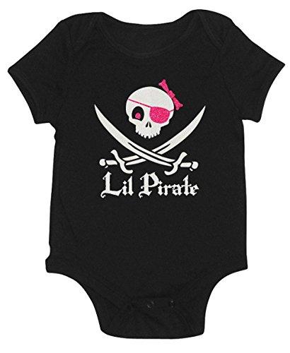 (Lil Pirate Girls Glitter Onesie (18-24 month, White/Pink)