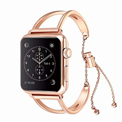 Juzzhou Bands For Apple Watch iWatch Series 1/2/3 Sport Stainless Steel Replacement Wristband Bracelet Wriststrap Watchband Wrist Strap Band With Buckle Metal Adapter Women Lady Girl Rose Gold 38mm by Juzzhou (Image #2)