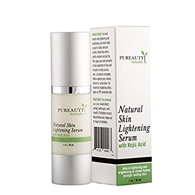 Skin Lightening Serum by Pureauty Naturals with Kojic Acid - Skin Whitening & Brightening Beauty Care Cream For Body, Face, Neck, Bikini, Sensitive Areas & All Skin Types - Dark Spot Corrector