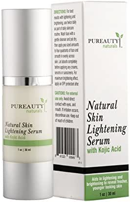 Skin Lightening Serum with Kojic Acid Skin Whitening and Brightening Beauty Care Cream for Body, Face, Neck, Underarm, Bikini and Sensitive Areas Dark Spot Appearance Corrector By Pureauty Naturals