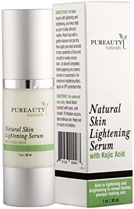 Skin Lightening Serum with Kojic Acid Skin Whitening and Brightening Beauty Care Cream for Body, Face, Neck, Bikini and Sensitive Areas Dark Spot Corrector By Pureauty Naturals