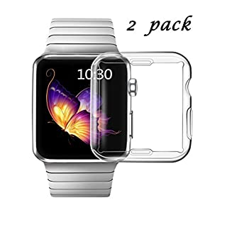 Smiling Clear Case for Apple Watch Series 3 38mm with Buit in TPU Screen Protector - All Around Protective Case High Definition Clear Ultra-Thin Cover for Apple iwatch 38mm Series 3 (2 Pack)