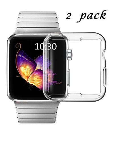 Smiling Apple Watch 3 Case Buit in TPU Screen Protector All-around Protective Case High Defination Clear Ultra-Thin Cover for Apple iwatch 42mm Series 3 and Series 2(2 pack)