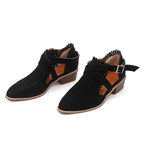 Tiempo Ponited Las Cuadrado Pure Zapatos Sola Tacon Correa Hebilla Negro De Toe Shoes Color ALIKEEY Mujeres Botines Munich q4fZdxqE