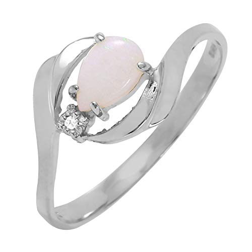 Galaxy Gold 0.26 Carat 14k Solid White Gold Ring with Natural Diamond and Pear-shaped Opal - Size 10.5