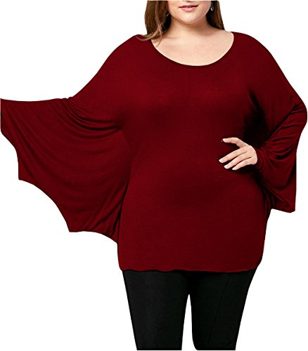 FOXRED Womens Halloween Cosplay Costume Batwing Crewneck Tunic Funny T Shirt(S-5XL) (XXXX-Large, Wine)]()