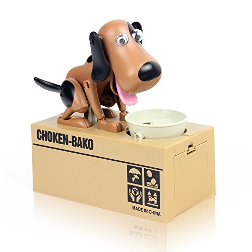 Digital Coin Box Dog Eating Stealing Piggy Bank Puppy Coin Box Plastic Kids Bank Money Automated Saving Box Tirelire Enfant - Brown and (Hamm Piggy Bank)