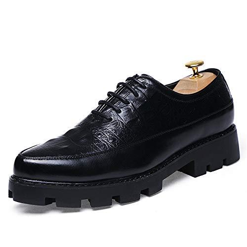 Xiaojuan-shoes, Scarpe casual da uomo di Oxford Business Texture Casual Soft,Scarpe Uomo Pelle (Color : Gold, Dimensione : 43 EU) Nero