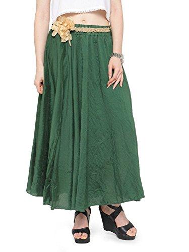 Indian Handicrfats Export Women's Bohemian Style Elastic Waist Band Cotton Linen Long Maxi Skirt Dress
