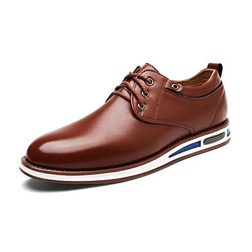 Casual Schuhe Männer Leder Matte PU Leder Obermaterial Lace Up Breathed ausgekleidet Oxfords (Color : Blau, Größe : 9.5MUS) Braun