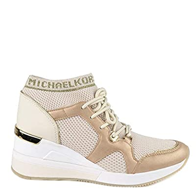 MICHAEL by Michael Kors Hilda Cream and Pale Gold Knit Trainer