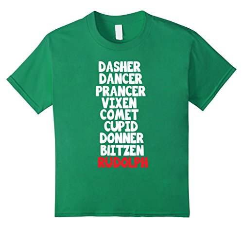 Kids Santa's Reindeer Name List Shirt, Funny Christmas Rudolph 12 Kelly Green (Christmas Names Reindeers Of 12)
