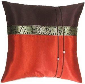 Artiwa® Burnt Orange & Brown Thai Elephants Throw Decorative Silk Pillow Case : 16″x16 ...