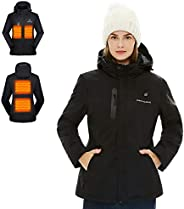 Venustas [2019 Upgrade] Women's Heated Jacket with Battery Pack, Heated Coat with Detachable Hood and Wate