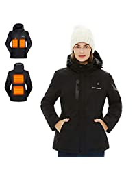Venustas [2019 Upgrade] Women's Heated Jacket with Battery Pack, Heated Coat with Detachable Hood and Waterproof& Windproof