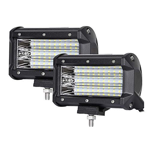 Yimeis Triple row 5-inch 81W work lights (LED) Super brightness Spot Beam Powerful Cooling Performance IP68 with Longer Life Span Universal for Trailer Forklift Excavator Dozer RoadRoller (Grain Triple Shock)