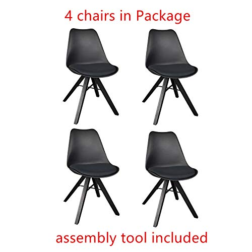 Heyesk Dining Room Chair Set of 4 Mid Century Modern Kitchen Chairs,Upholstered Seat (Black, 4)
