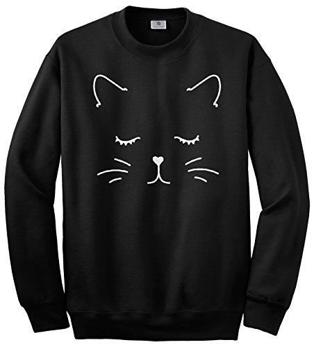 Threadrock White Kitty Cat Face Unisex Sweatshirt L