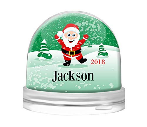 - Personalized Snow Globe by Dinkleboo - for Kids and Adults Young at Heart - Clear Acrylic Dome - Your Choice of White Snow, Red Hearts or Purple Glitter - Select from Several Cute Designs (Santa)