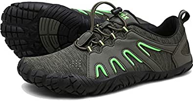 Voovix Mens Barefoot Shoes Athletic Trail Running Shoes Womens Outdoor Walking Shoes for Hiking Cross Training Green Size: 7 Women/5 Men