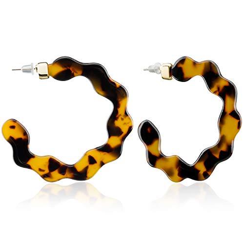 Enameljewelries Wave Tortoise Shell Hoop Earrings Lightweight Acrylic Resin Hoop Earrings with Hypoallergenic 925 Silver Post for Women (C4#Tortoise) ()