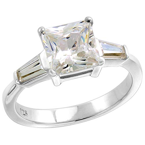 Sterling Silver CZ Tapered Baguette 3-Stone Princess Cut Engagement Ring for Women 2 ct Size 9