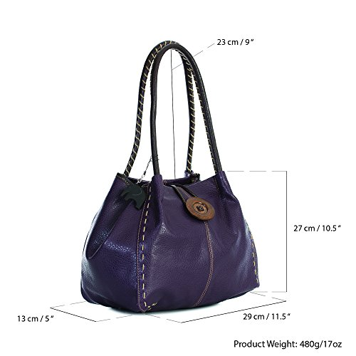 spalla donna a Borsa Pu Shop One Grigio Big Handbag Grado 4 Scuro HwgUTT