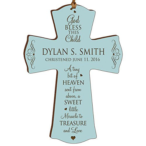 Cross Baby Bless God (LifeSong Milestones Personalized Baptism 1st Holy Communion Christening Gifts Custom Wall Cross Decoration God Bless This Child a Tiny Bit of Heaven Sent From Above (4.5