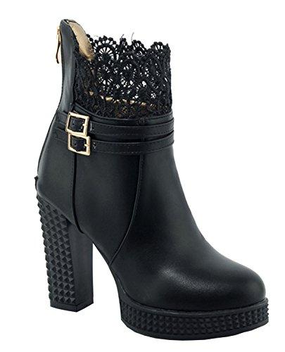 YE Damen Blockabsatz High Heel Spitze Stiefeletten mit Plateau Schnallen Reißverschluss 10cm Absatz Elegant Herbst Winter Schuhe Ankle Boots Schwarz